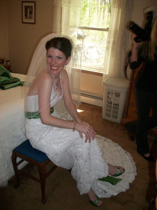 Just hours before I married my ex-husband. I'll never stop loving that dress.