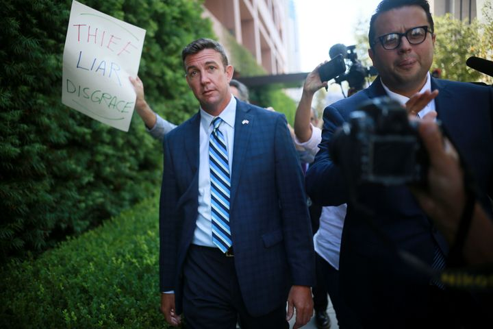 Hunter was met by protestors during his arraignment on Thursday in San Diego.