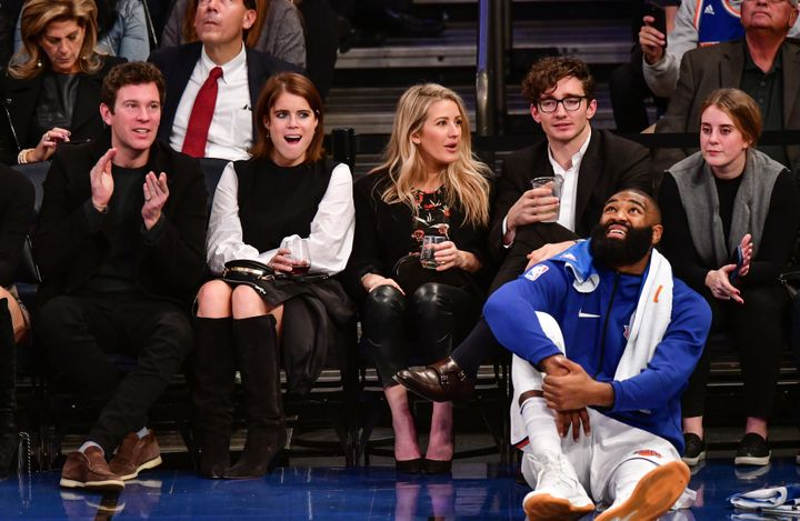 Jack Brooksbank, Princess Eugenie of York, Ellie Goulding and Caspar Jopling attend a Brooklyn Nets-New York Knicks game at Madison Square Garden on Oct. 27, 2017 in New York City.