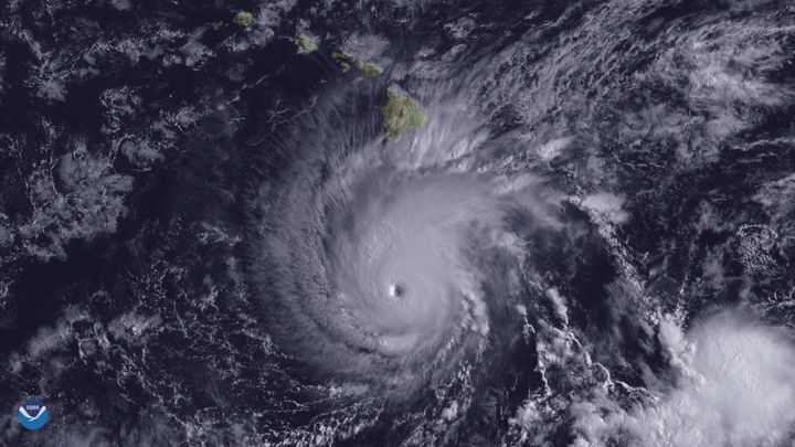 Hurricane Lane, with a well-defined eye, is shown positioned about 300 miles south of Hawaii's Big Island at 2 p.m. ET on Wed