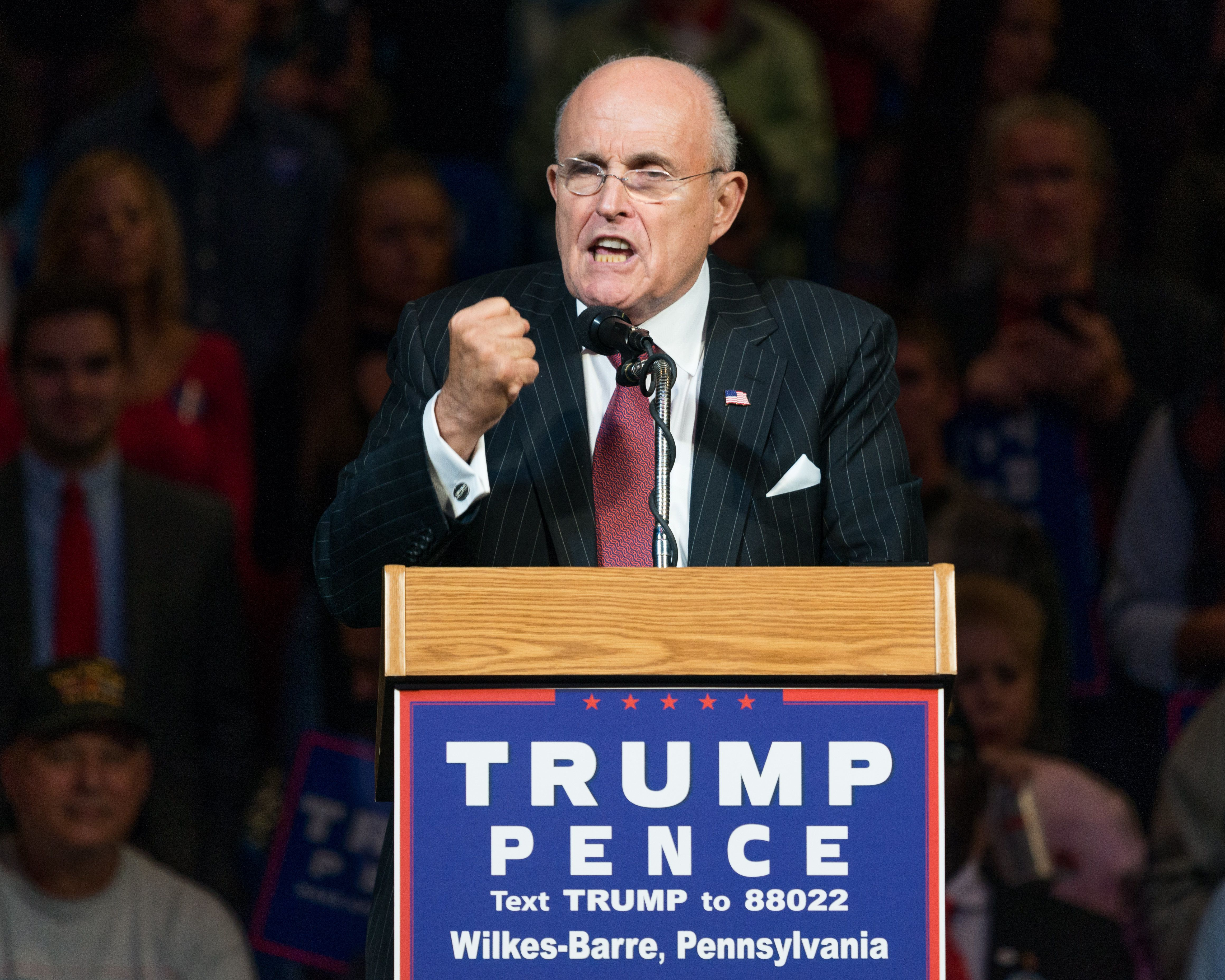 WILKES-BARRE, PA, UNITED STATES - 2016/10/10: Former New York City Mayor Rudy Giuliani campaigning for Donald Trump at the Mohegan Sun Arena in Wilkes-Barre. (Photo by Michael Brochstein/SOPA Images/LightRocket via Getty Images)
