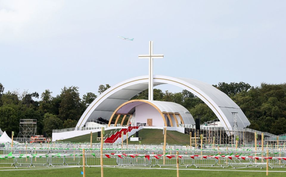 The Papal Altar is pictured at Phoenix park in Dublin this