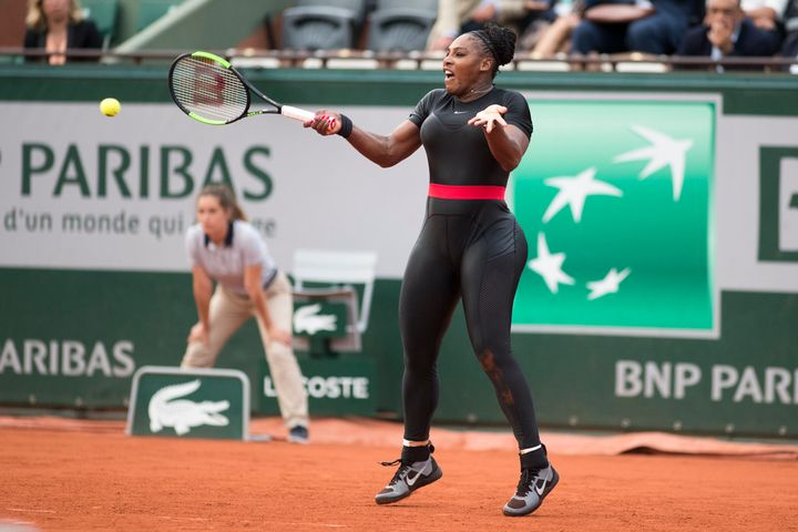 """Serena Williams, pictured last May in the tournament, said her """"Wakanda-inspired catsuit"""" made her feel like a superhero."""