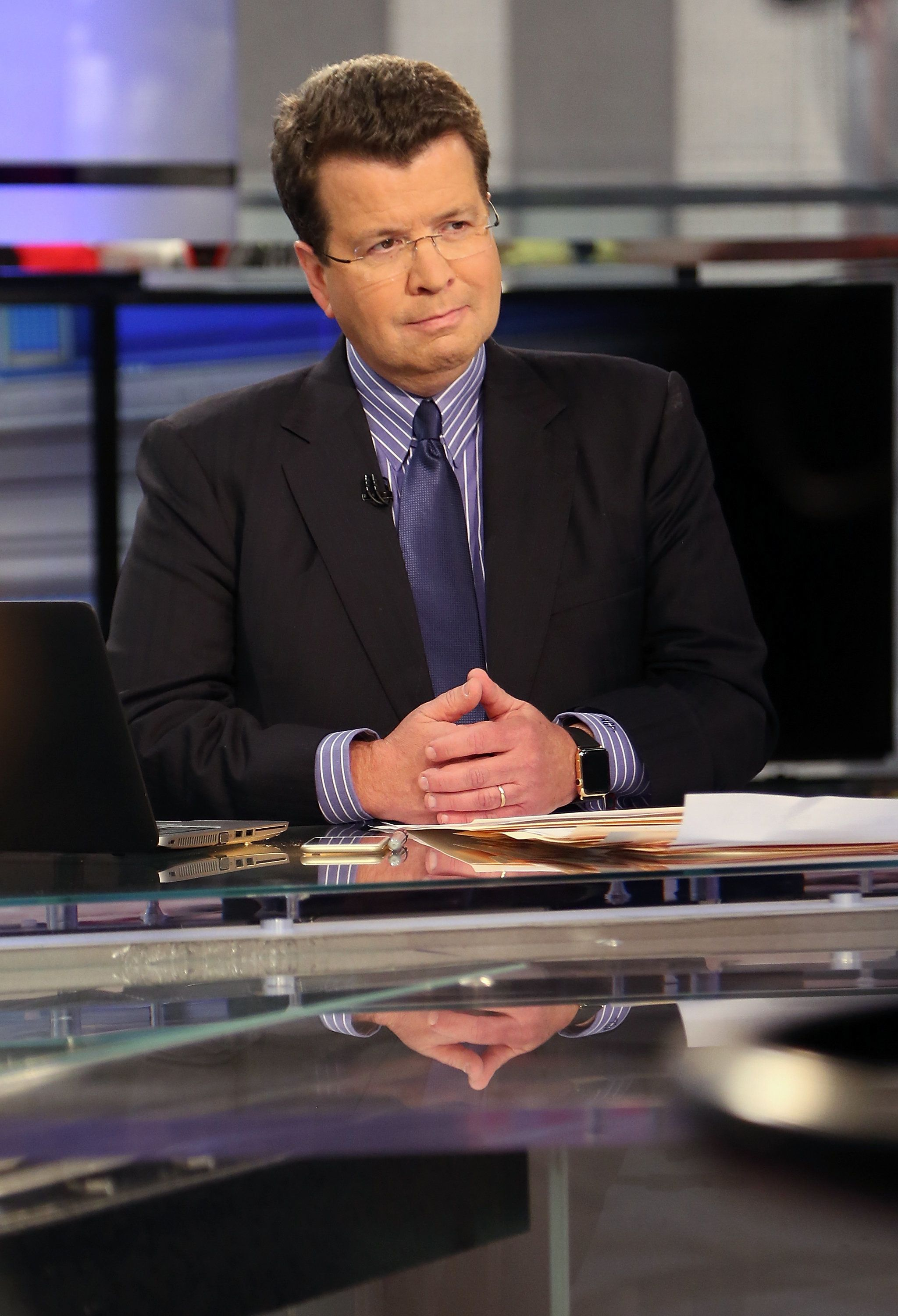 NEW YORK, NY - JUNE 17: Fox Business Network anchor Neil Cavuto, speaks with Paul Volcker, when he visits FOX Business Network's 'CAVUTO: Coast To Coast' at FOX Studios on June 17, 2015 in New York City.  (Photo by Monica Schipper/Getty Images)