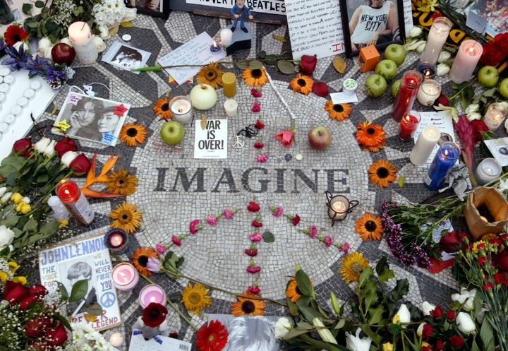Strawberry Fields, the late Beatle's memorial in New York City's Central Park, on the 25th anniversary of his dea