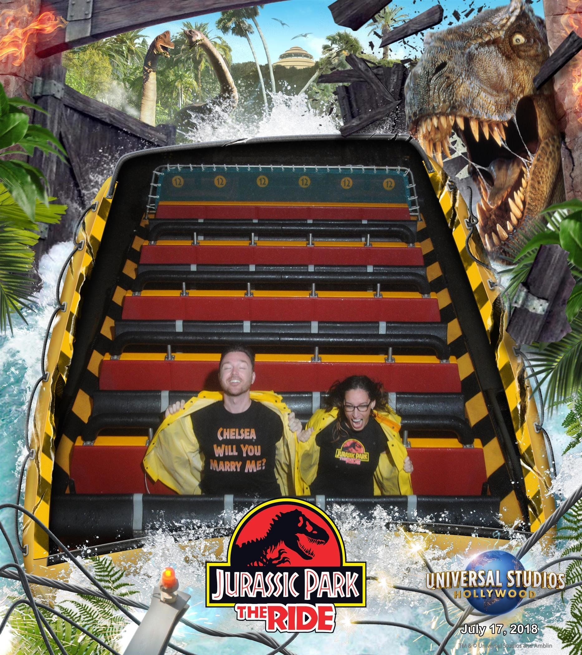 Couple Gets Engaged After Riding 'Jurassic Park' Ride A Record 62
