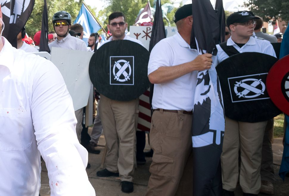 James Alex Fields Jr., center, at the Unite the Right white supremacist rally in Charlottesville, Virginia, on Aug. 12, 2017.