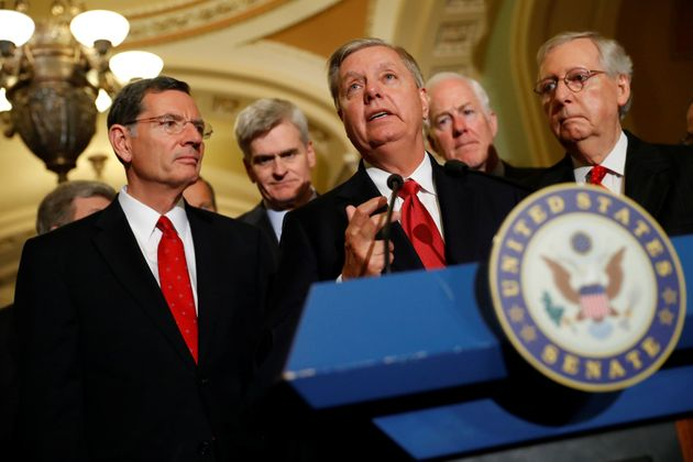 GOP Sens. John Barrasso (Wyo.), Bill Cassidy (La.) and Lindsey Graham (S.C.) — three sponsors of...