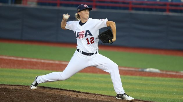 Stacy Piagno pitches for the U.S. Women's National Team on August 23,