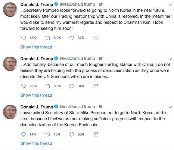 트럼프가 폼페이오의 방북을 취소한다는 트윗을