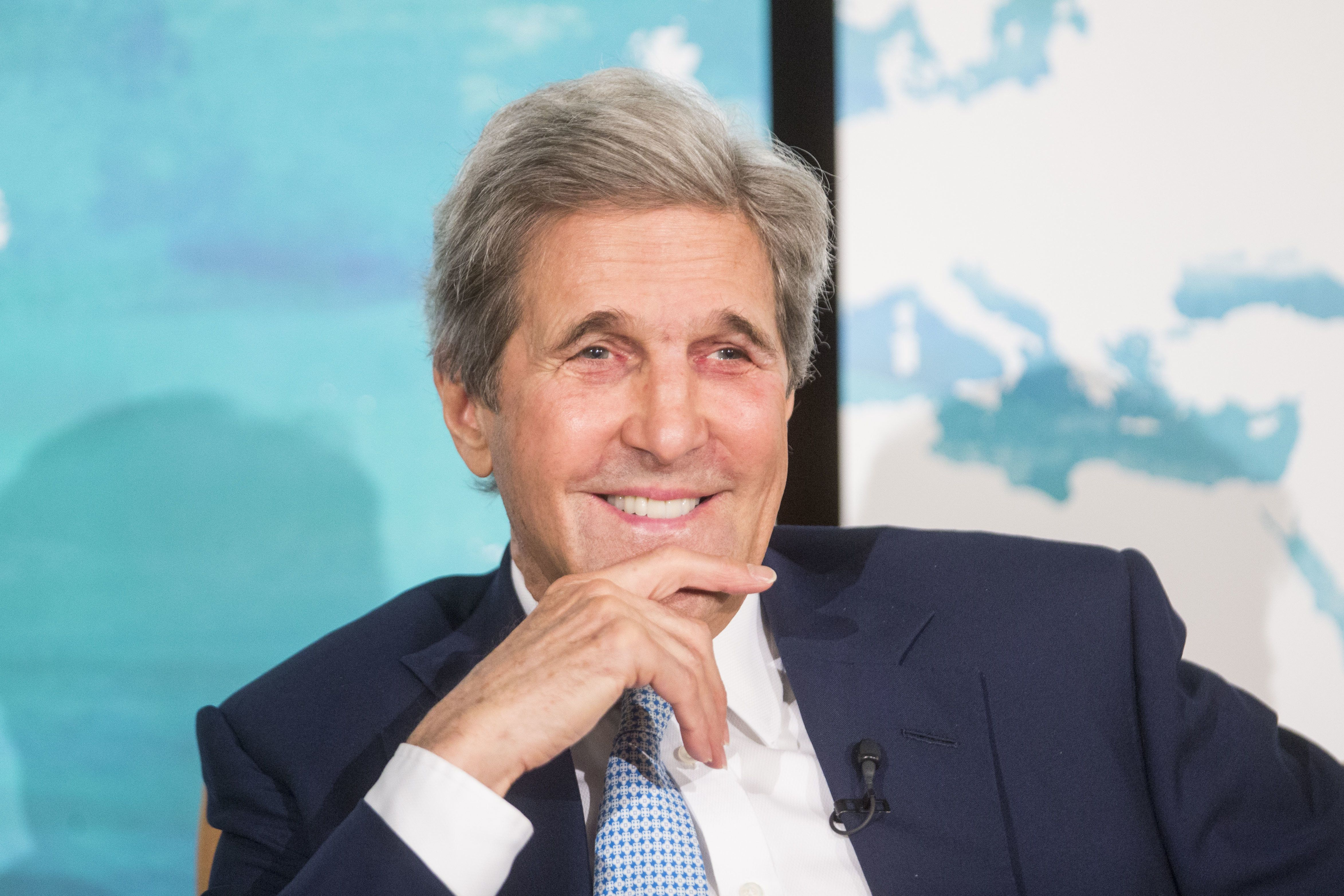 John Kerry, former U.S. Secretary of State, smiles during the International Mayors Climate Summit in Boston, Massachusetts, U.S., on Thursday, June 7, 2018. The summit focuses on the best practices and steps city leaders can take to address climate change globally and in their own communities. Photographer: Scott Eisen/Bloomberg via Getty Images