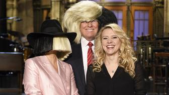 SATURDAY NIGHT LIVE -- 'Donald Trump' Episode 1687 -- Pictured: (l-r) Sia, Donald Trump, and Kate McKinnon on November 5, 2015 -- (Photo by: Dana Edelson/NBC/NBCU Photo Bank via Getty Images)