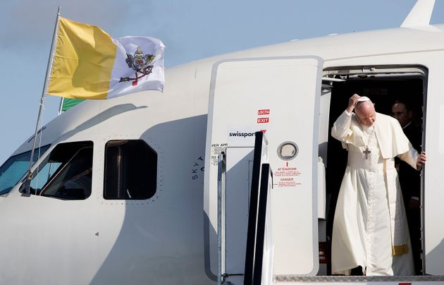 Pope Francis as he arrives at Dublin International Airport, at the start of his visit to