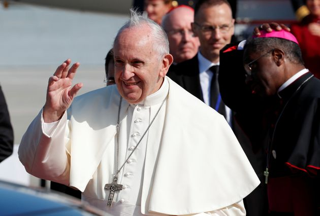 Pope Francis arrives at Dublin International Airport, at the start of his two-day visit to