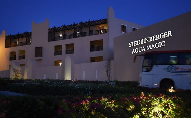The Steigenberger Aqua Magic hotel, in Egypt's Red Sea resort of Hurghada. Tour operator Thomas Cook moved all its customers from a hotel in Egypt after a British couple staying there died