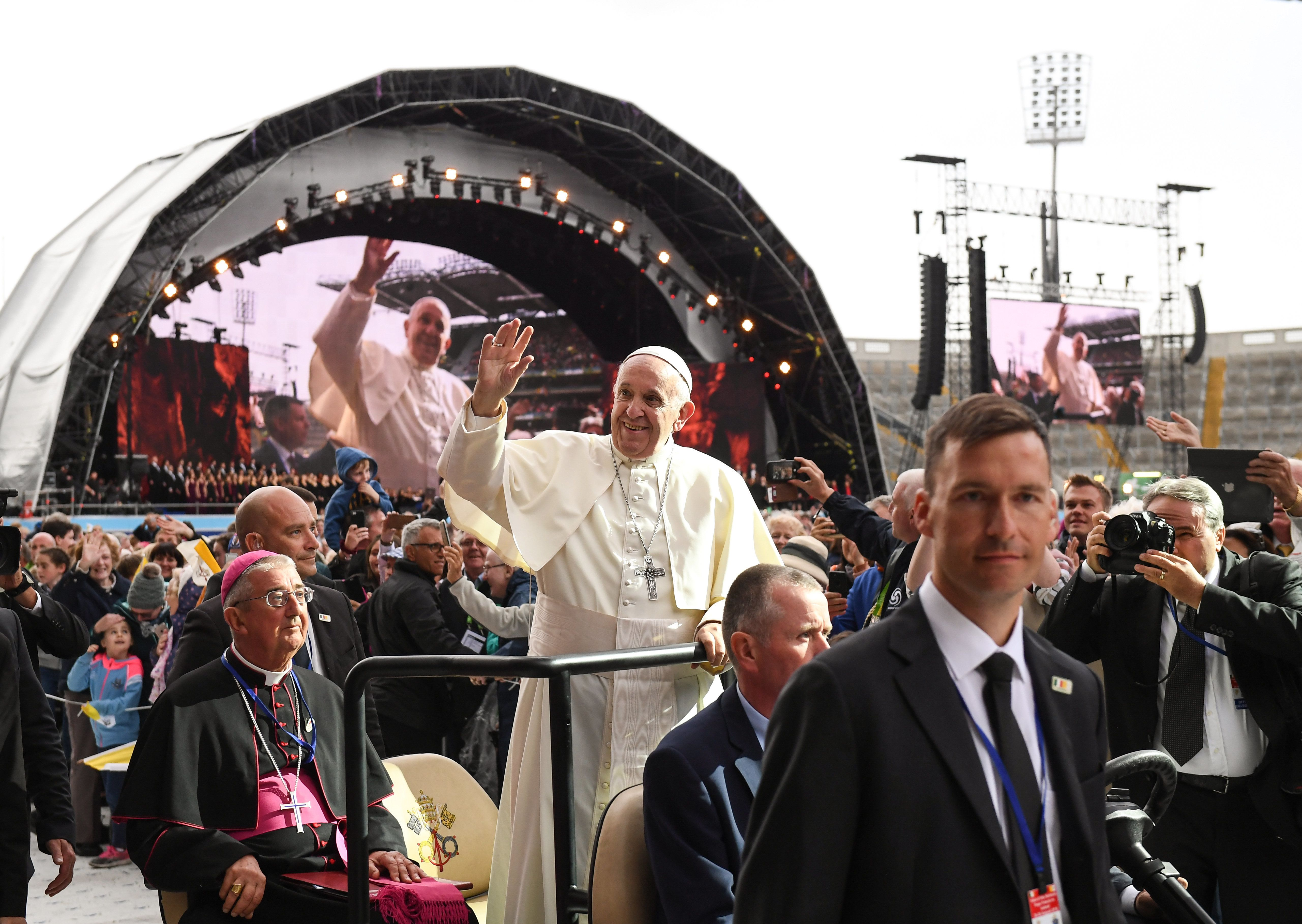 Pope Francis during The Festival of Families at Croke Park in Dublin.