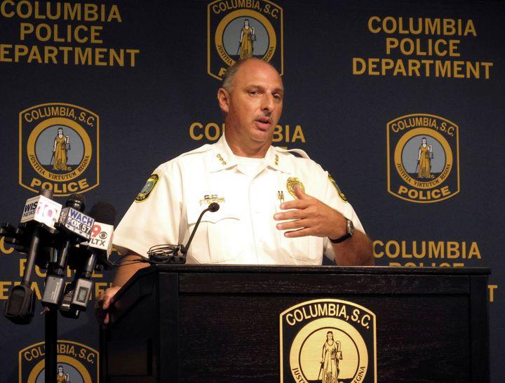 Skip Holbrook speaks at a news conference regarding the death of police dog, Turbo.