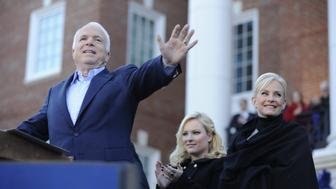 UNITED STATES - NOVEMBER 01:  Presidential candidate Senator John McCain speaking Christopher Newport University as daughter Megan and wife Cindy stand by, in Newport News, Virginia  (Photo by Julia Xanthos/NY Daily News Archive via Getty Images)