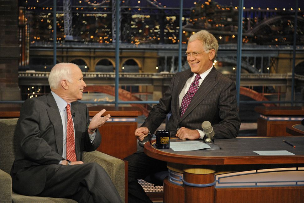"""McCain in 2008, during one of his three appearances on """"The Late Show with David Letterman."""""""