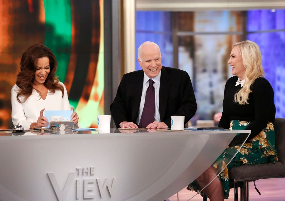 """McCain stopped by ABC's """"The View"""" on his daughter Meghan McCain's birthday."""