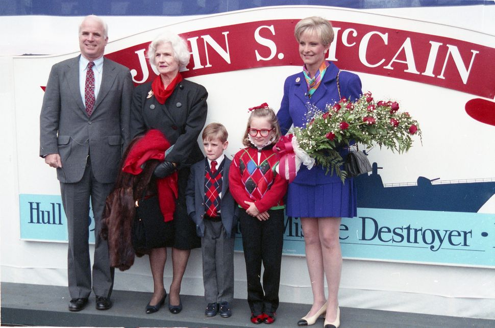 Members of the McCain family attend the christening of USS John S McCain (DDG-56), an Arleigh Burke-class destroyer, in Bath,