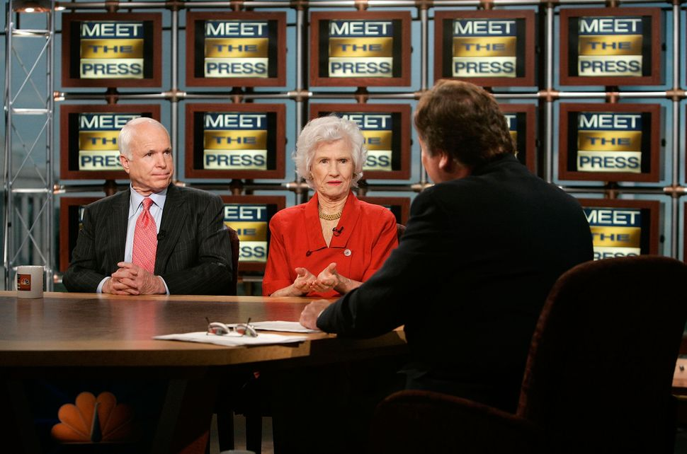 """McCain and his mother, Roberta McCain, are interviewed by moderator Tim Russert during a taping for a broadcast on the """"Meet"""