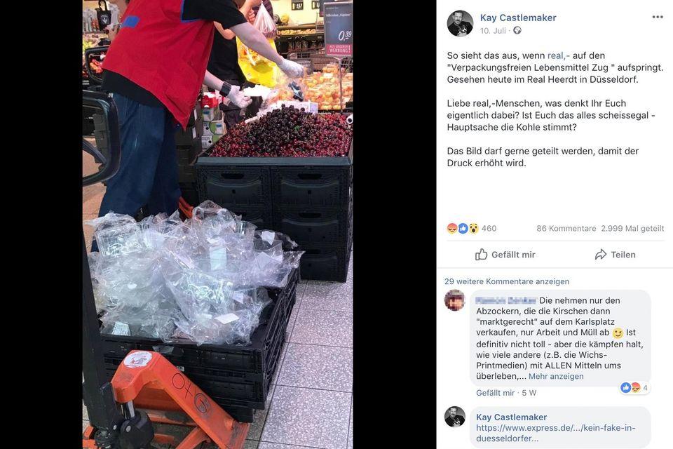 Facebook-Eintrag über den kirschenstapelnden