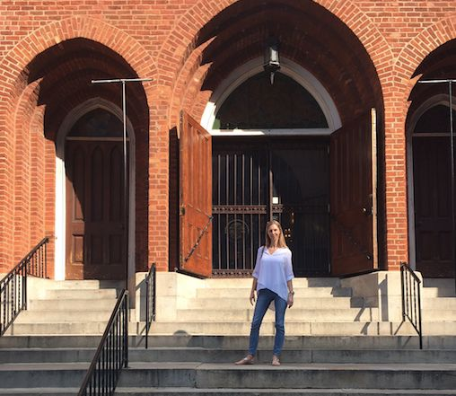 Caitlin Weaver in front of Shrine of the Immaculate Conception in Atlanta, Georgia.