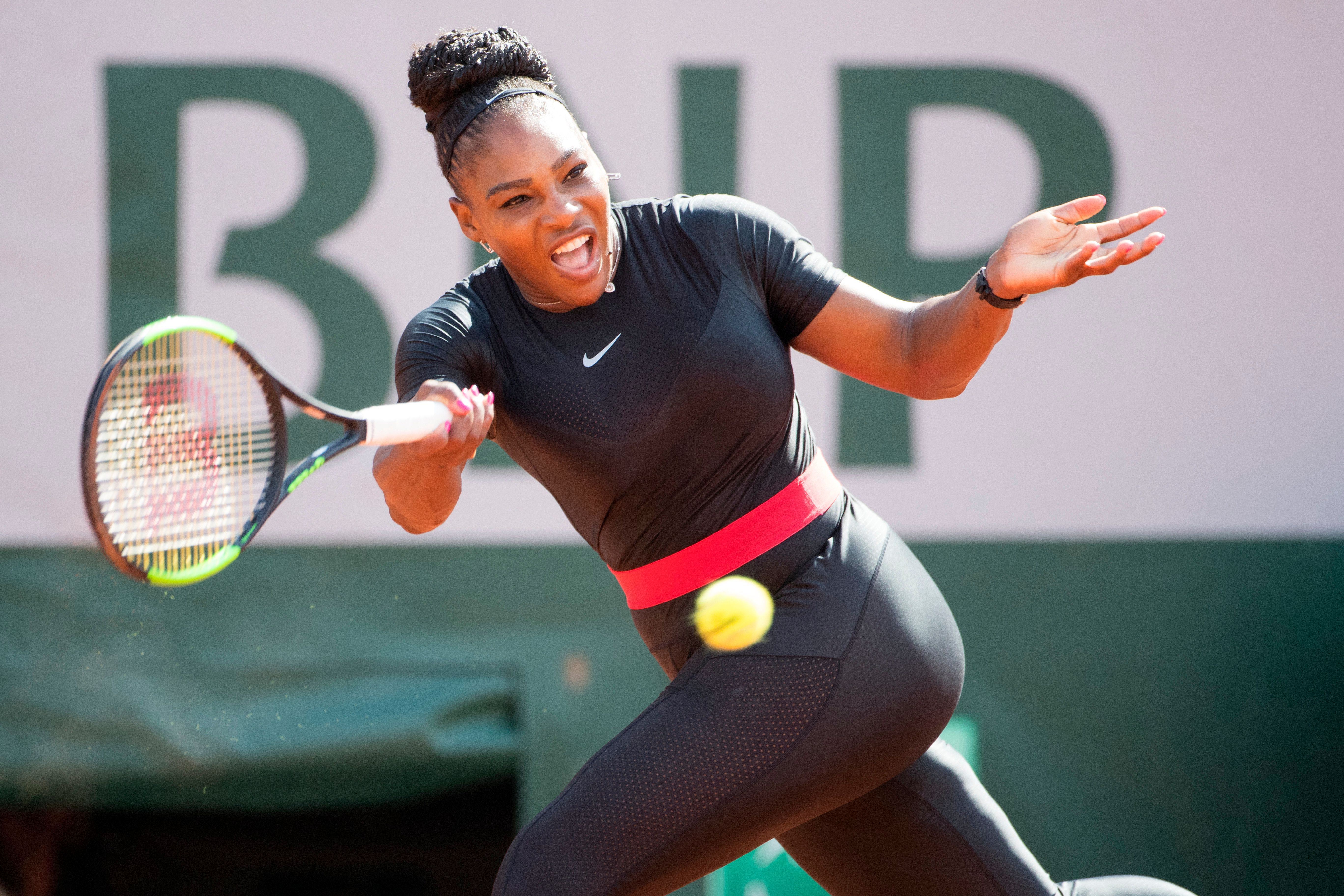 2018 French Open Tennis Tournament - Day Three.  Serena Williams of the United States in action against Kristyna Pliskova of the Czech Republic on Court Philippe-Chatrier in the Men's Singles Competition at the 2018 French Open Tennis Tournament at Roland Garros on May 29th 2018 in Paris, France.  (Photo by Tim Clayton/Corbis via Getty Images)