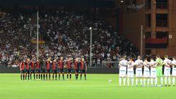 제노아 팬들이 교량붕괴 희생자 43명을 추모한