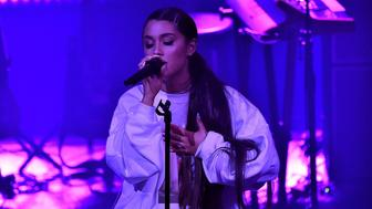 CHICAGO, IL - AUGUST 22:  Ariana Grande performs at the American Express And Ariana Grande Present 'The Sweetener Sessions' At Chicago's The Vic at The Vic Theater on August 22, 2018 in Chicago, Illinois.  (Photo by Kevin Mazur/Getty Images for American Express)