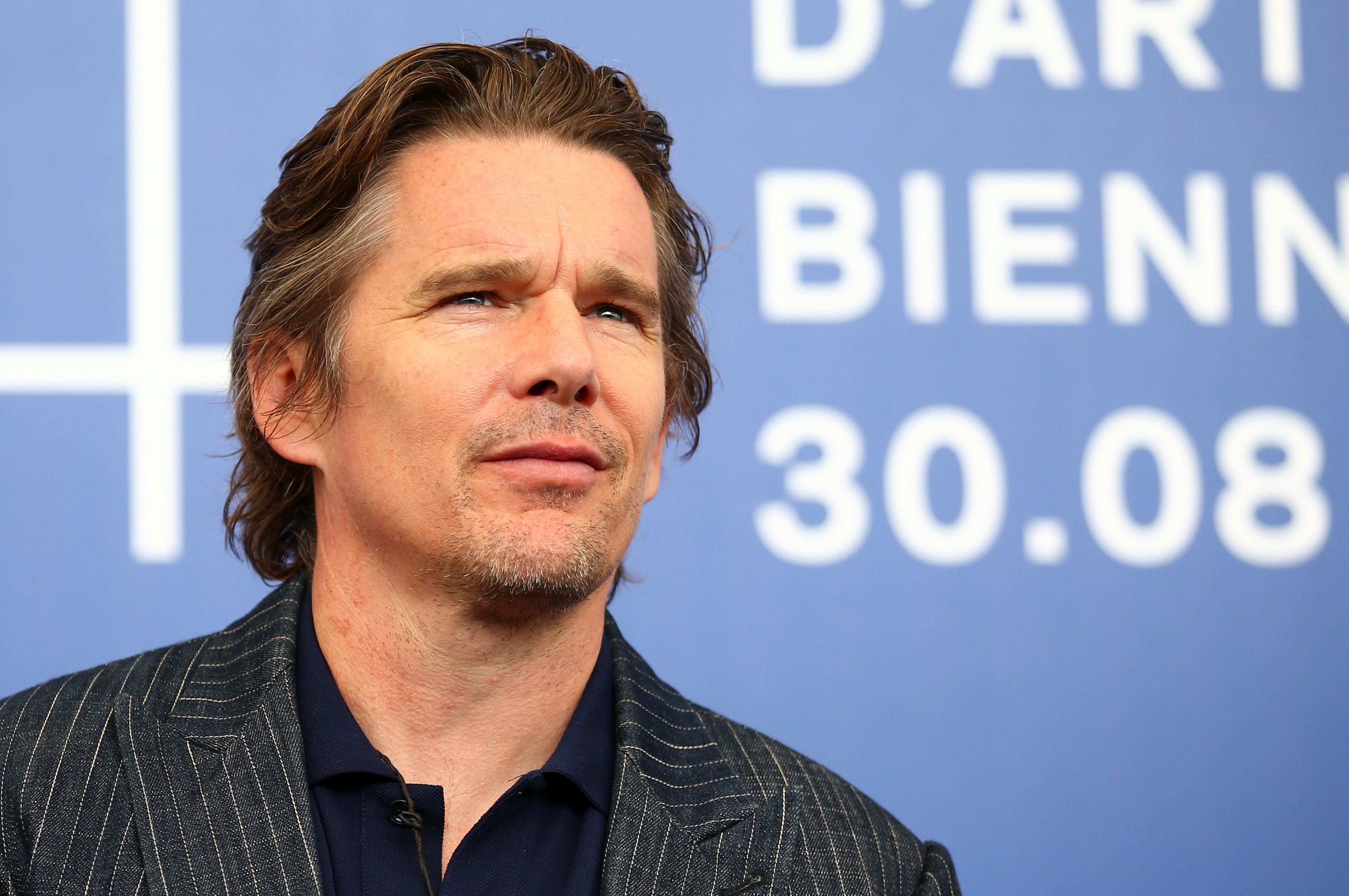 "Actor Ethan Hawke poses during a photocall for the movie ""First reformed"" at the 74th Venice Film Festival in Venice, Italy August 31, 2017. REUTERS/Alessandro Bianchi"