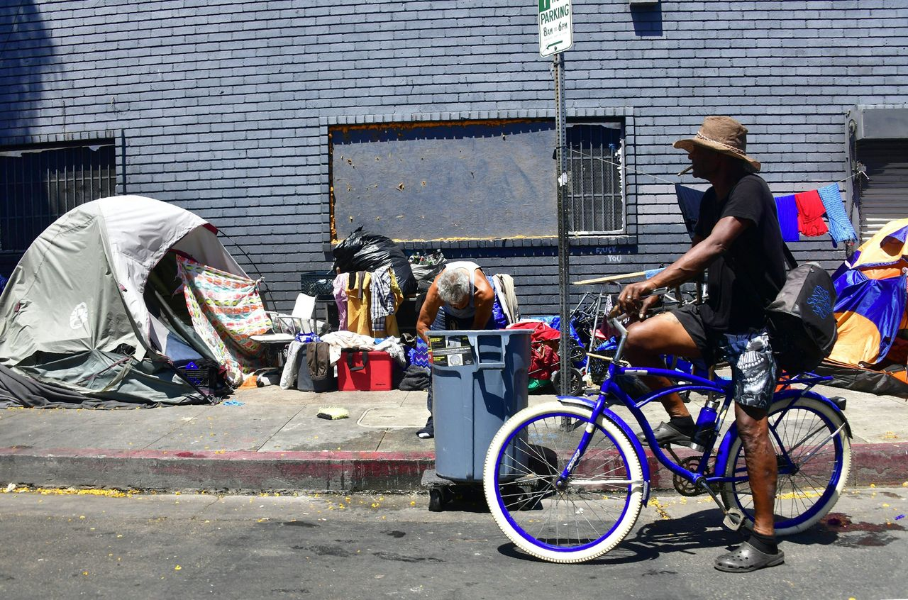 Tents belonging to homeless people line a street in Los Angeles. A recent U.N. report said 18.5 million Americans are living in extreme poverty.