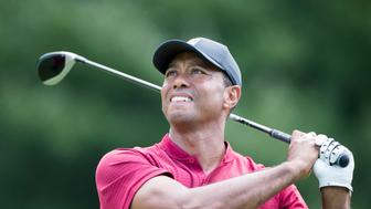 PARAMUS, NEW JERSEY- August 26:  Tiger Woods of the United States during the final round of The Northern Trust FedEx Cup Playoffs on August 26th 2018 at The Ridgewood Country Club, Paramus, New Jersey. (Photo by Tim Clayton/Corbis via Getty Images)