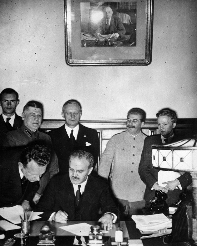 Russian Foreign Minister Vyacheslav Molotov signing the German-Soviet non-aggression pact, Moscow, Russia,...
