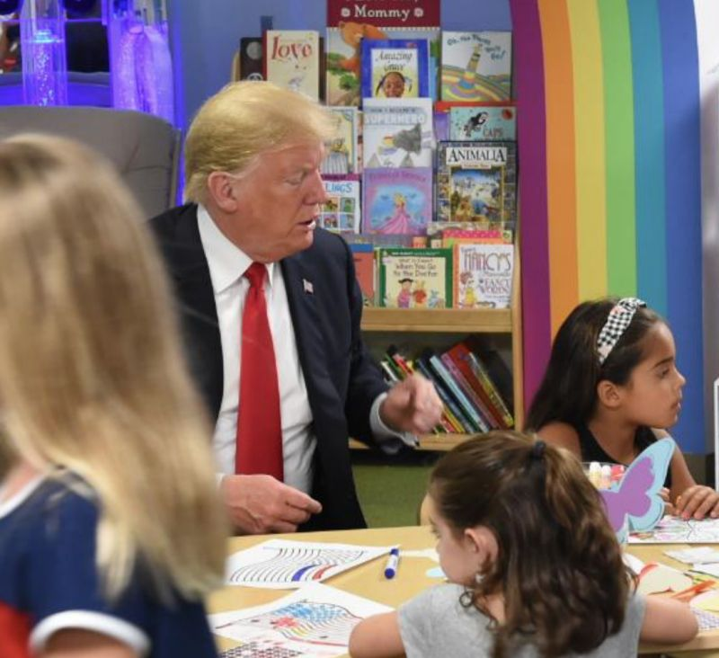 This Photo Of President Trump Coloring An American Flag Has People