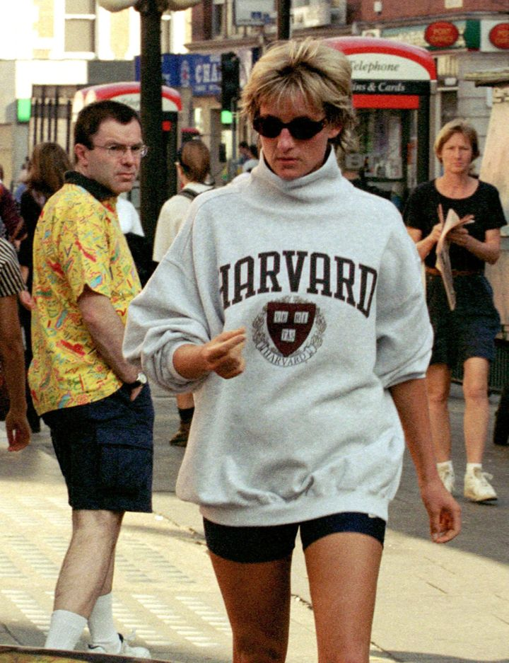 Wearing a Harvard sweatshirt while out and about in London.