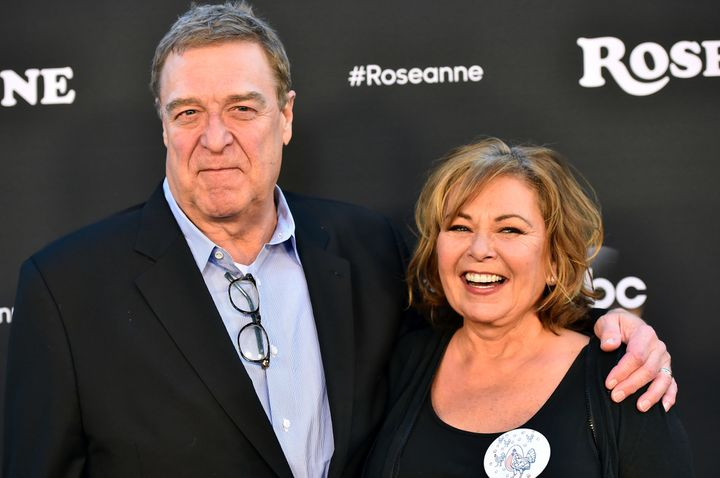 "John Goodman and Roseanne Barr attend the premiere of ABC's ""Roseanne"" last March in Burbank, California."