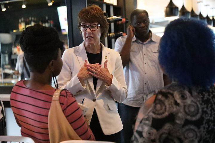Democratic gubernatorial candidate Gwen Graham visits the Uptown Kitchen on Aug. 27, 2018, for a discussion about gun violenc