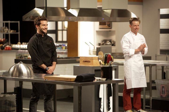 Marcel Vigneron with contestant Richard Blais, hair still intact.