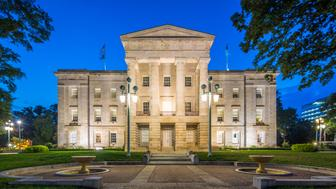 State Capitol Building of Raleigh at Night - Twilight. Raleigh, North Carolina, USA.