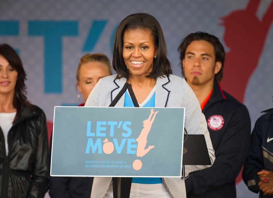 Former first lady Michelle Obama speaks on behalf of Let's Move in
