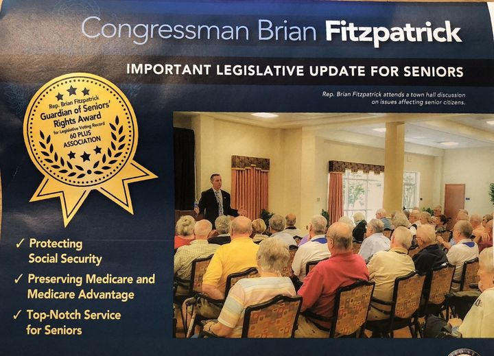 Republican Brian Fitzpatrick advertises an award from the 60 Plus Association in an official mailer.