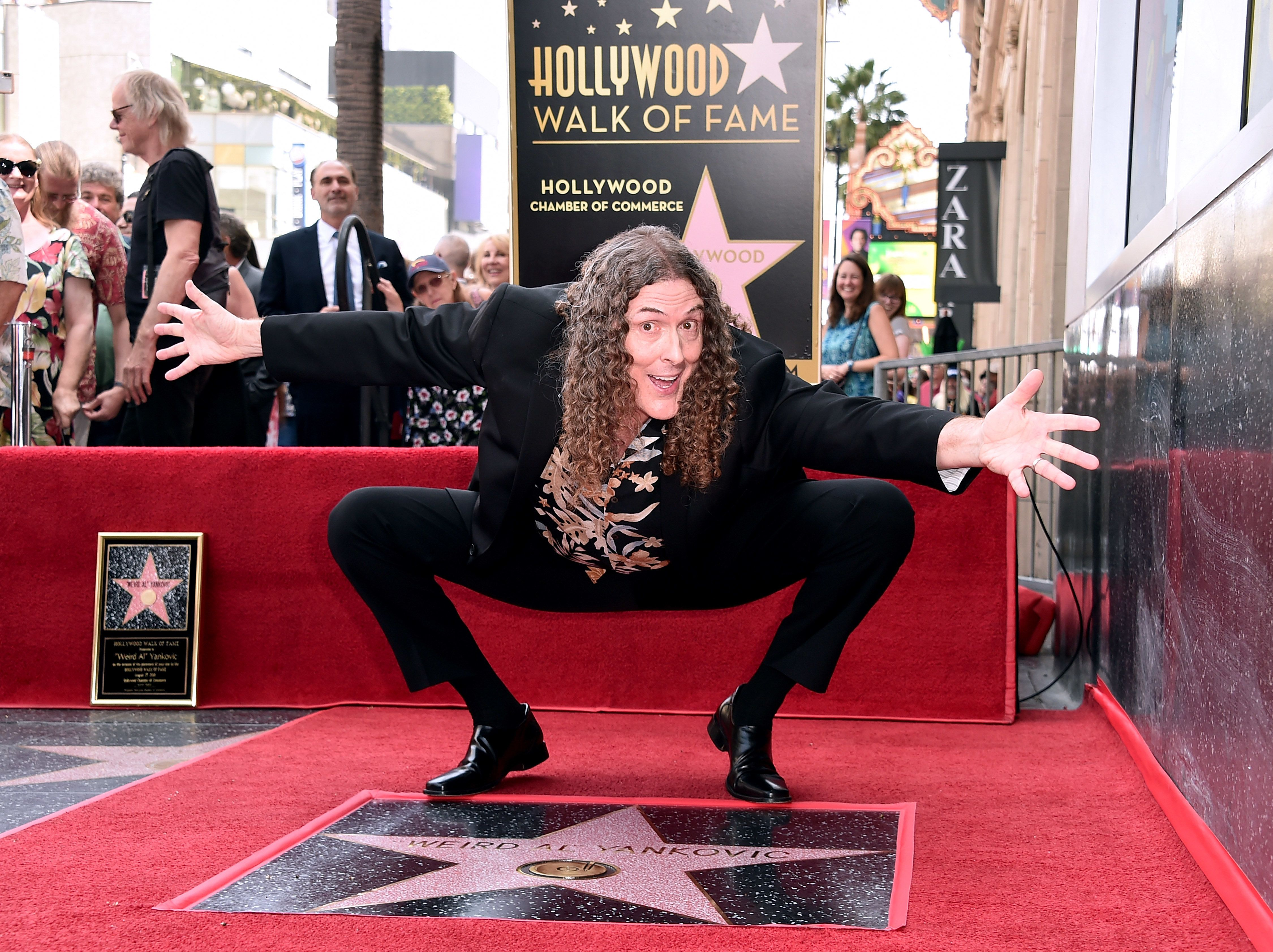 HOLLYWOOD, CA - AUGUST 27:  'Weird Al' Yankovic' attends a ceremony honoring him with the 2,643rd star on the Hollywood Walk of Fame on August 27, 2018 in Hollywood, California.  (Photo by Alberto E. Rodriguez/Getty Images)