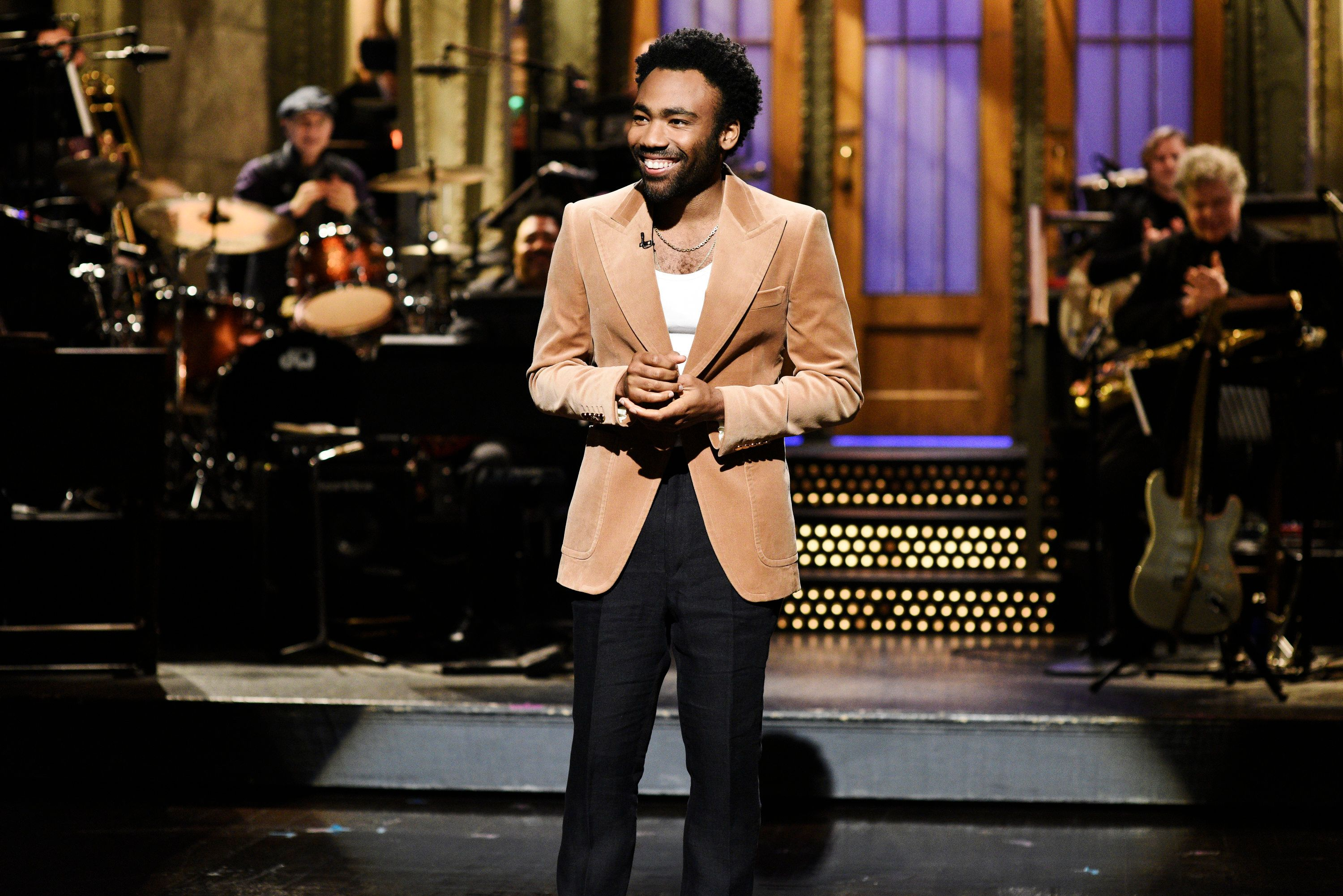 SATURDAY NIGHT LIVE -- 'Donald Glover' Episode 1744 -- Pictured: Host Donald Glover during the opening monologue in Studio 8H on Saturday, May 5, 2018 -- (Photo by: Will Heath/NBC/NBCU Photo Bank via Getty Images)