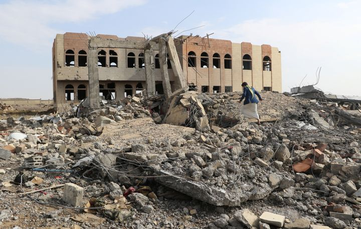 An airstrike destroyed the Community College in Saada, Yemen on April 12.