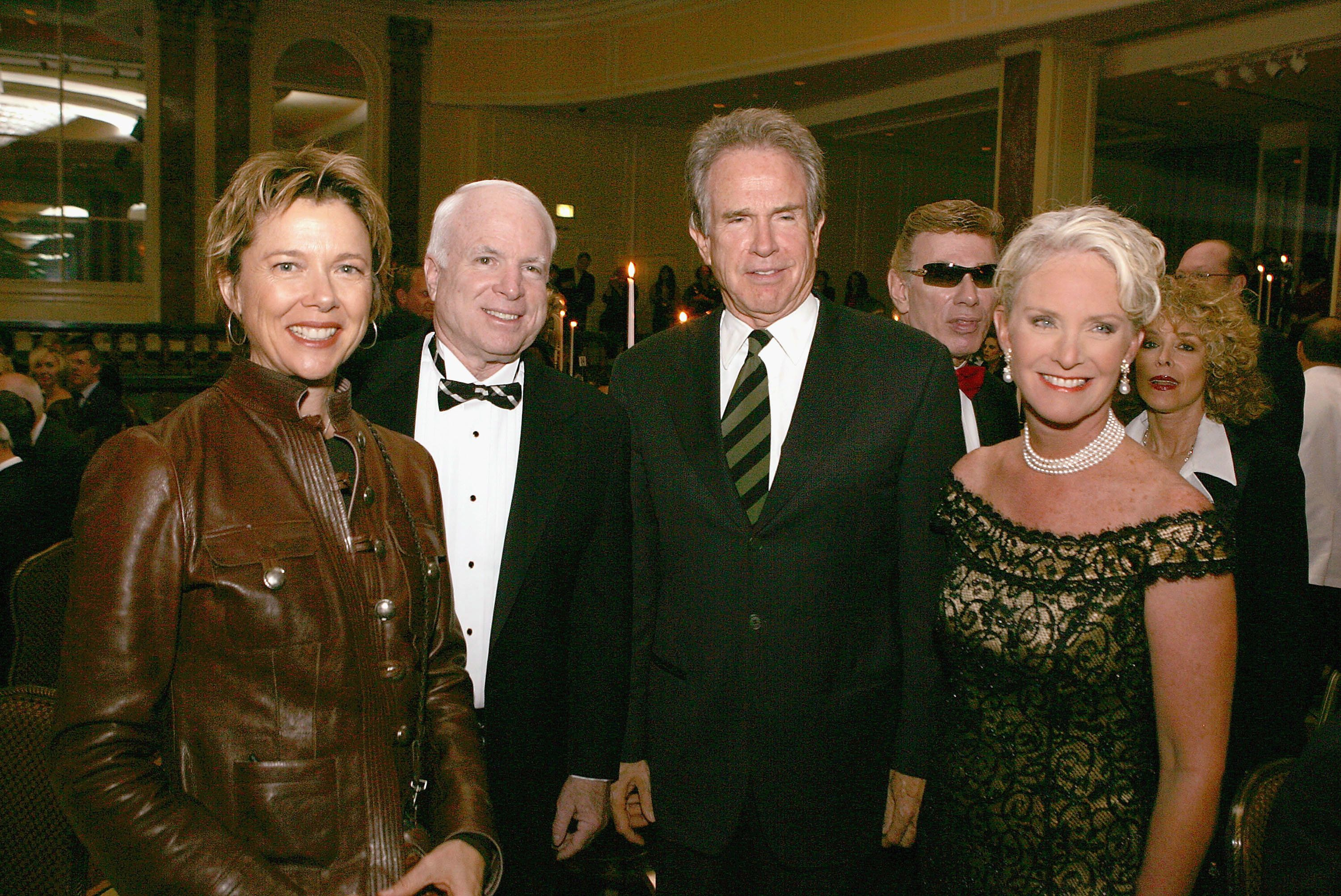 Warren Beatty (second from right) and his wife, Annette Bening (left), joined John McCain (second from left) and his wife, Ci