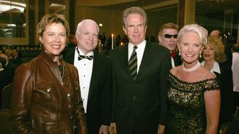 BEVERLY HILLS, CA - OCTOBER 1:  (L to R) Actress Annette Bening, Senator John McCain (R-AZ), actor Warren Beatty and honoree Cindy MaCain pose at Operation Smile's  4th Annual Los Angeles Gala at the Regent Beverly Wilshire Hotel on October 1, 2005 in Beverly Hills, California. (Photo by Kevin Winter/Getty Images)