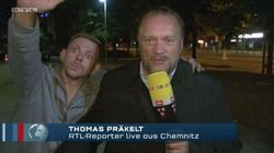 Chemnitz: Mann belästigt RTL-Reporter während Liveübertragung und streckt rechten Arm aus