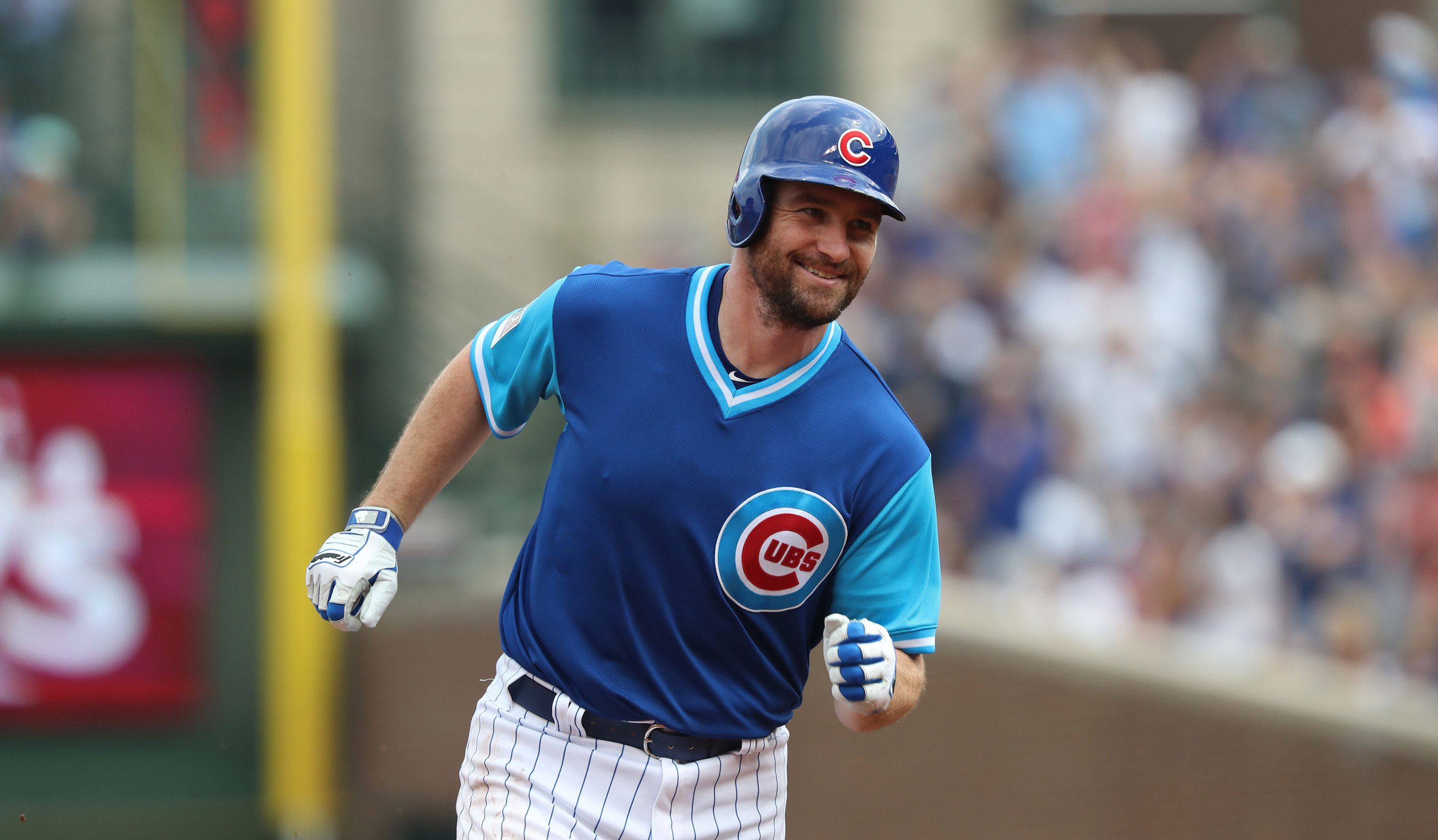 Chicago Cubs second baseman Daniel Murphy (3) rounds the bases after hitting a two-run home run in the second inning against the Cincinnati Reds on Saturday, Aug. 25, 2018 at Wrigley Field in Chicago, Ill. (John J. Kim/Chicago Tribune/TNS via Getty Images)